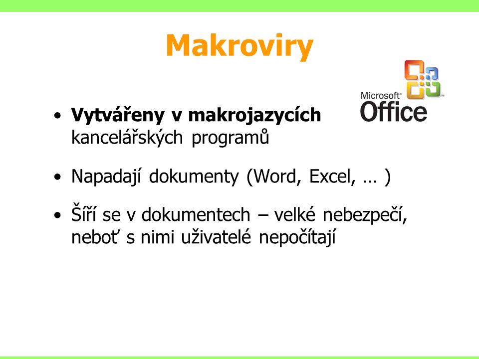 Makroviry Vytvářeny v makrojazycích kancelářských programů