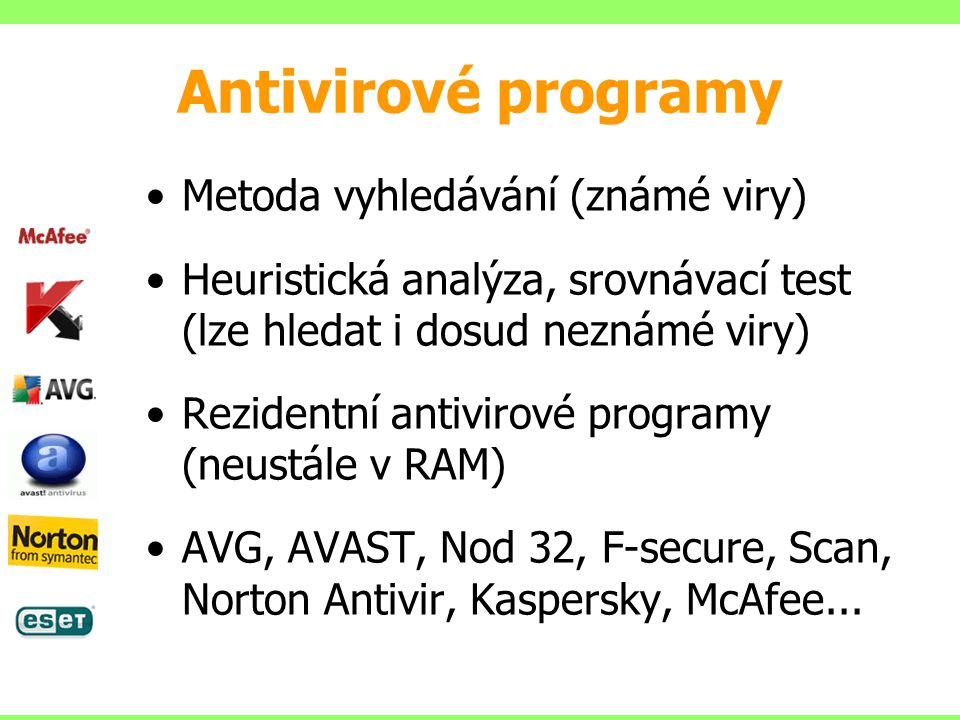 Antivirové programy Metoda vyhledávání (známé viry)
