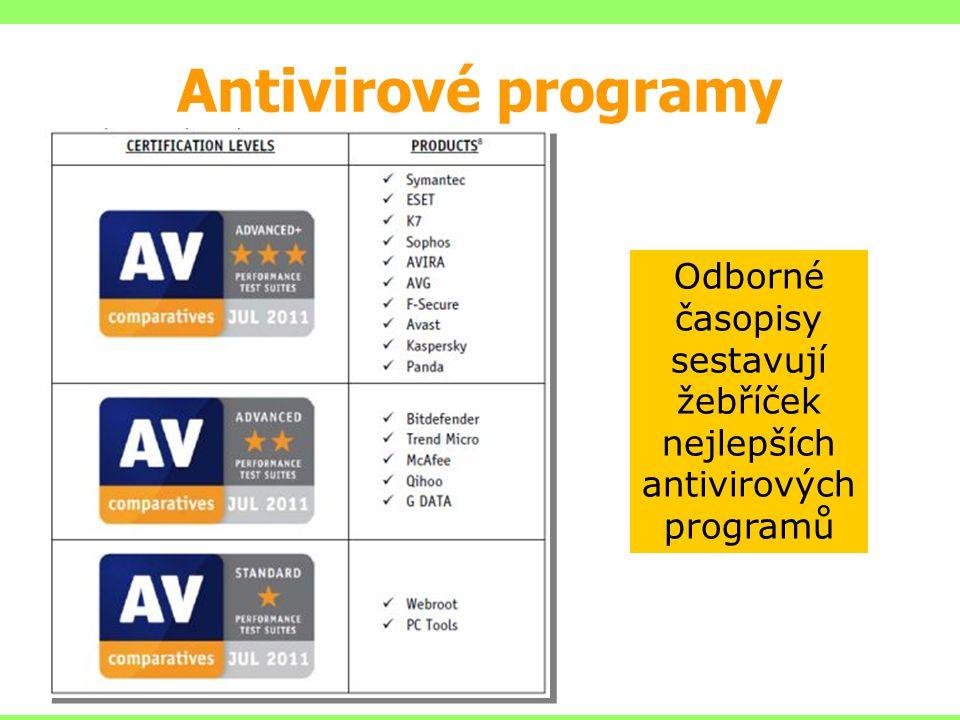 Odborné časopisy sestavují žebříček nejlepších antivirových programů