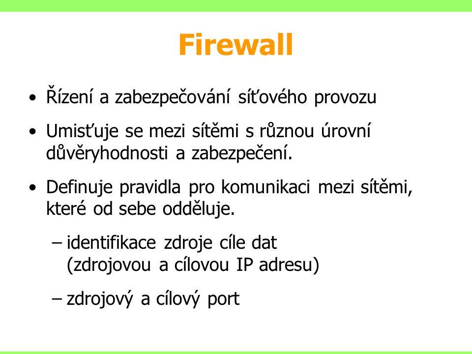 Firewall Řízení a zabezpečování síťového provozu