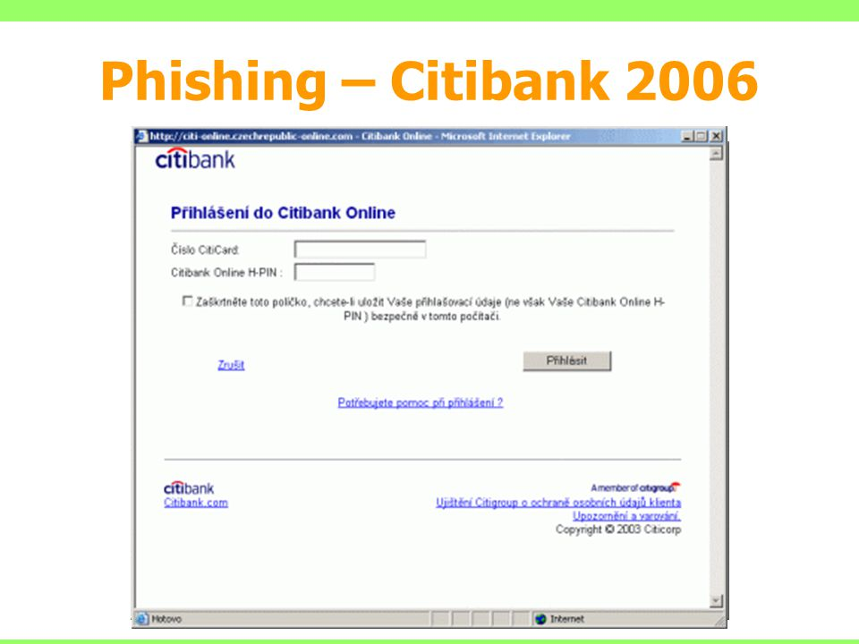 Phishing – Citibank 2006