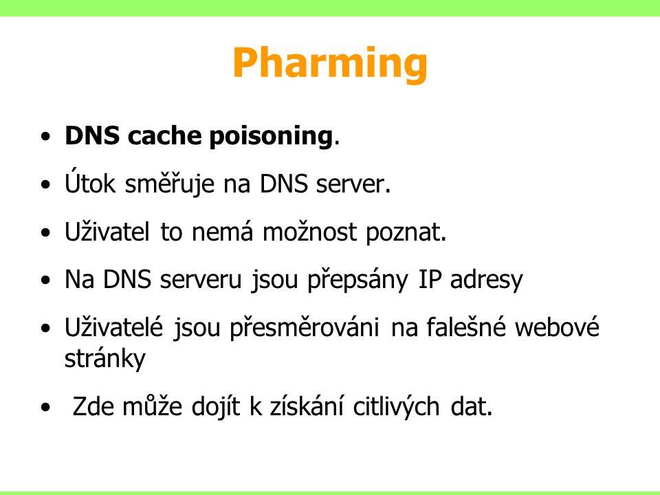 Pharming DNS cache poisoning. Útok směřuje na DNS server.