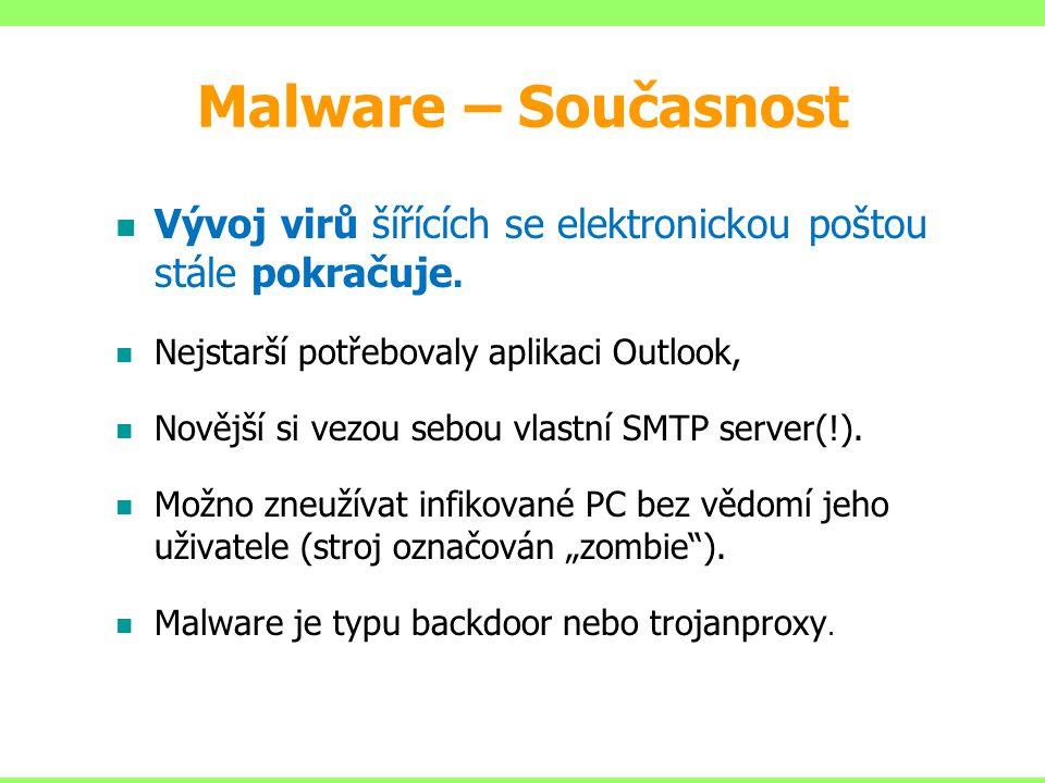 Malware – Současnost Vývoj virů šířících se elektronickou poštou stále pokračuje. Nejstarší potřebovaly aplikaci Outlook,