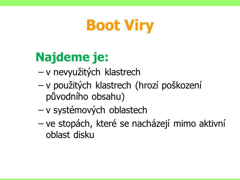 Boot Viry v nevyužitých klastrech