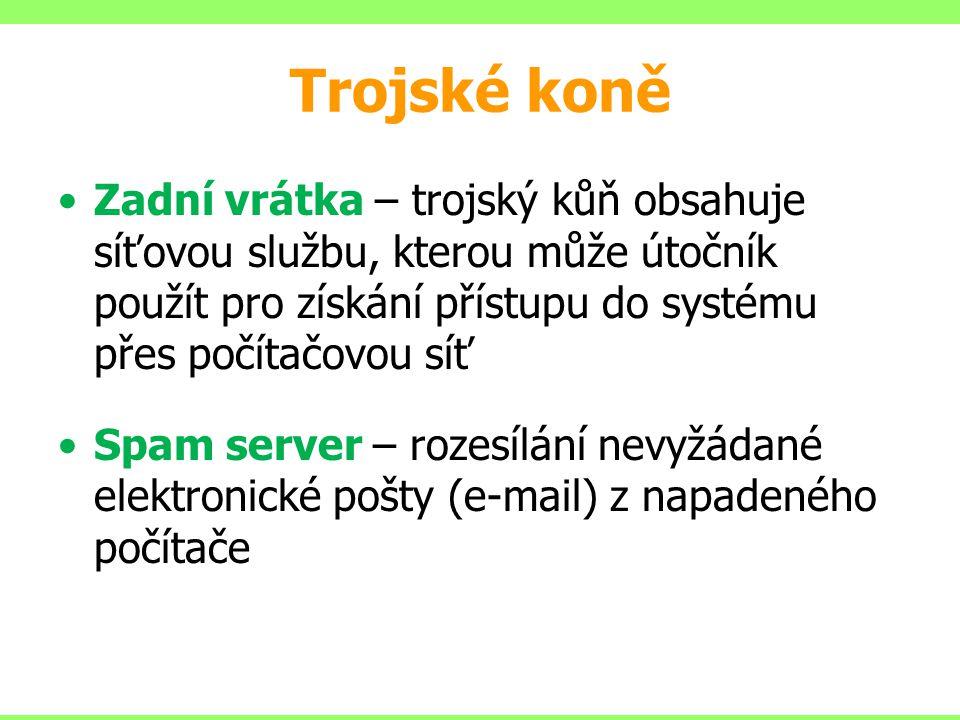 Trojské koně Zadní vrátka – trojský kůň obsahuje síťovou službu, kterou může útočník použít pro získání přístupu do systému přes počítačovou síť.