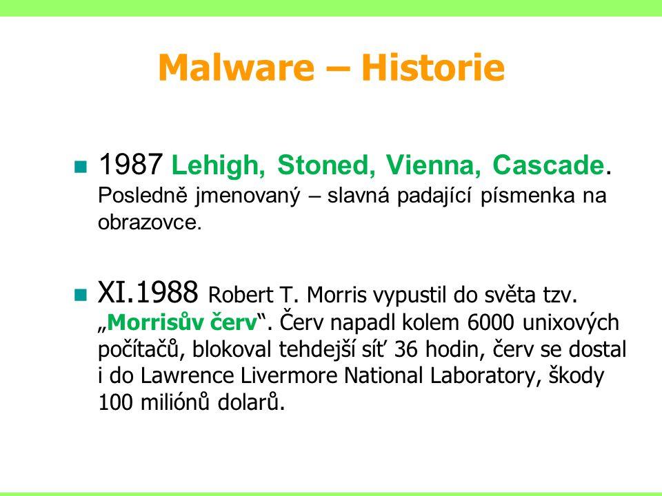 Malware – Historie 1987 Lehigh, Stoned, Vienna, Cascade. Posledně jmenovaný – slavná padající písmenka na obrazovce.