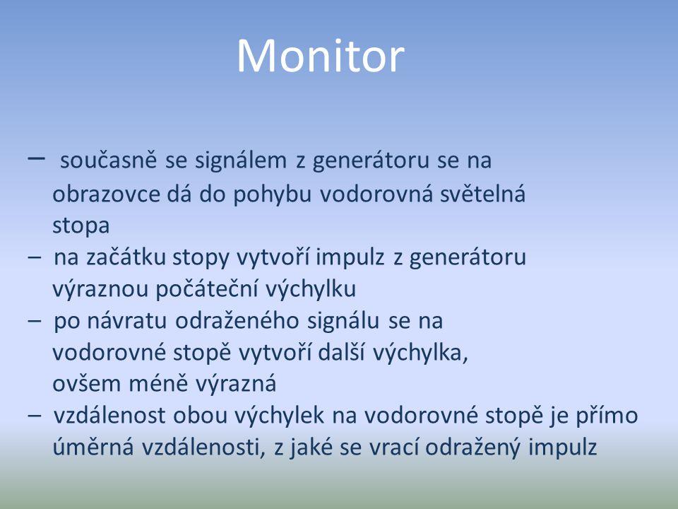 Monitor – současně se signálem z generátoru se na