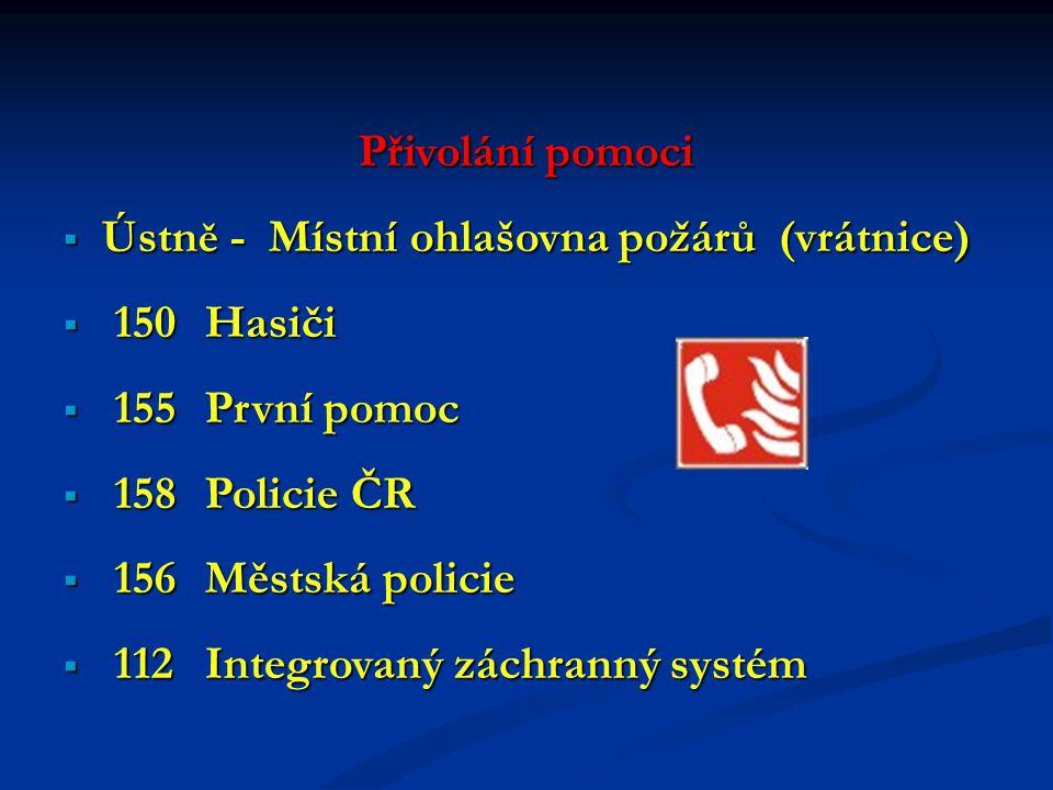 Přivolání pomoci Ústně - Místní ohlašovna požárů (vrátnice) 150 Hasiči. 155 První pomoc. 158 Policie ČR.