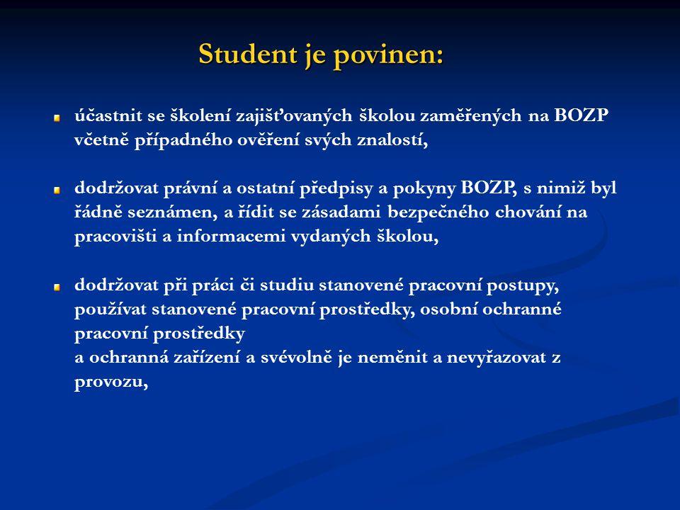 Student je povinen: účastnit se školení zajišťovaných školou zaměřených na BOZP včetně případného ověření svých znalostí,