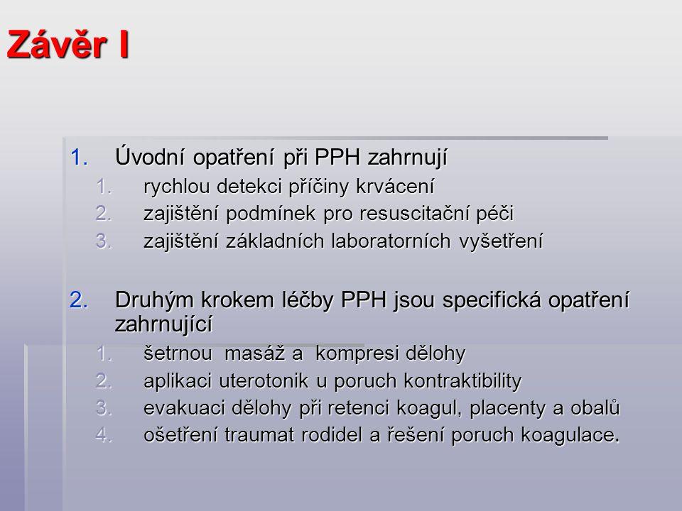 Závěr I Úvodní opatření při PPH zahrnují