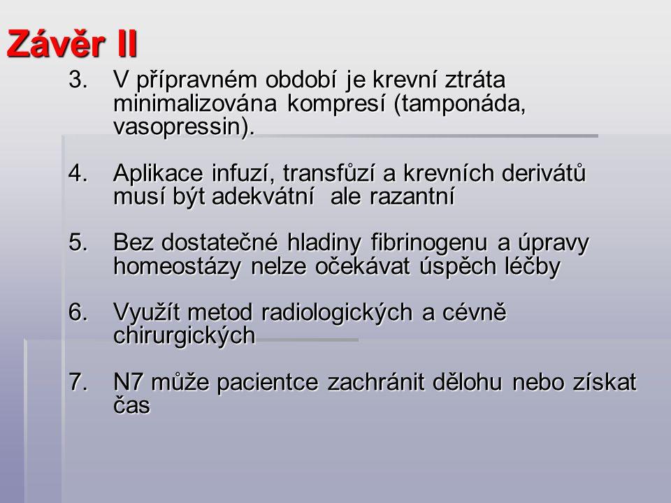 Závěr II V přípravném období je krevní ztráta minimalizována kompresí (tamponáda, vasopressin).