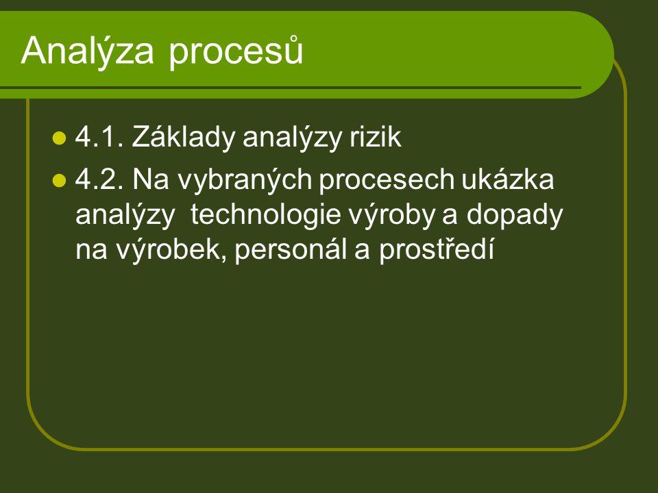 Analýza procesů 4.1. Základy analýzy rizik