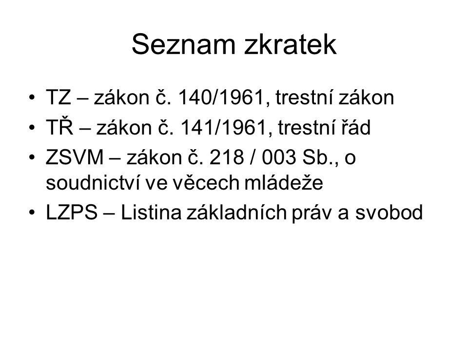 Seznam zkratek TZ – zákon č. 140/1961, trestní zákon