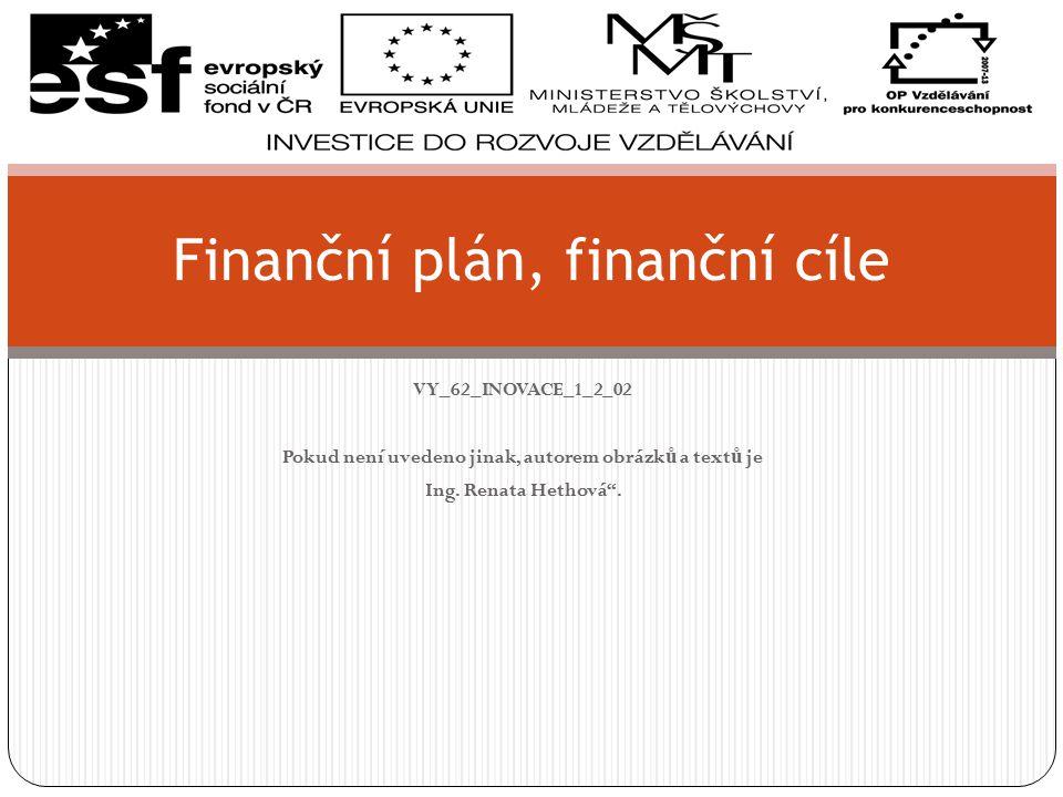 Finanční plán, finanční cíle