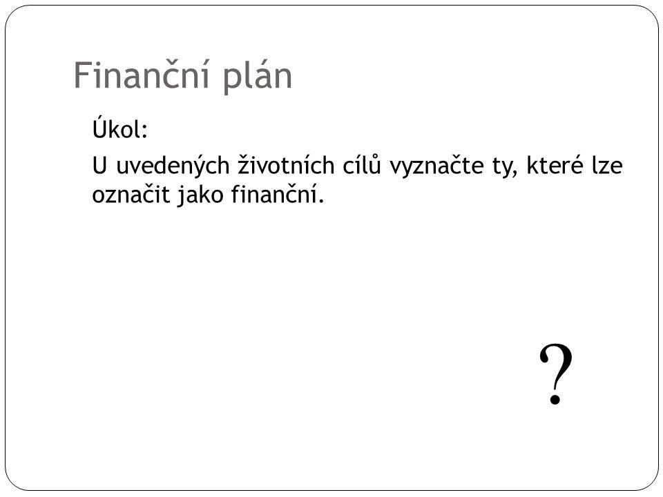 Finanční plán Úkol: U uvedených životních cílů vyznačte ty, které lze označit jako finanční.