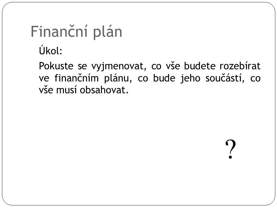 Finanční plán Úkol: Pokuste se vyjmenovat, co vše budete rozebírat ve finančním plánu, co bude jeho součástí, co vše musí obsahovat.