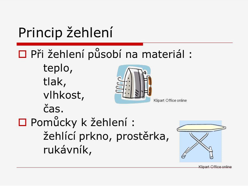 Princip žehlení Při žehlení působí na materiál : teplo, tlak, vlhkost,
