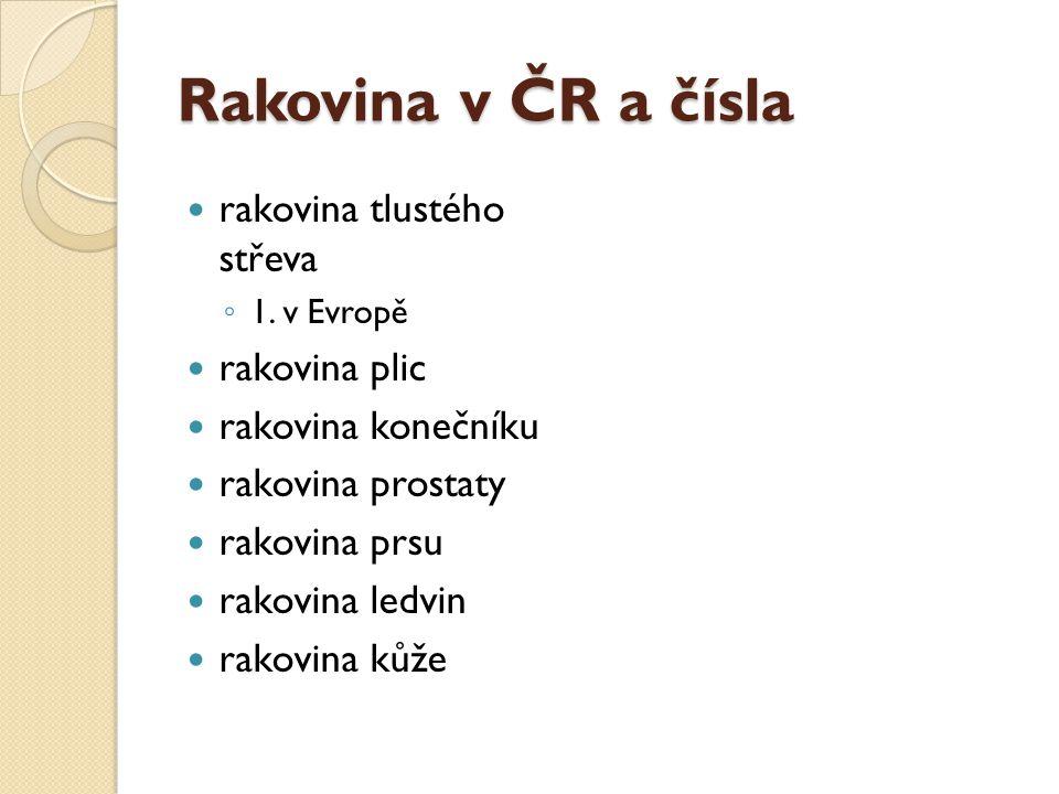 Rakovina v ČR a čísla rakovina tlustého střeva rakovina plic
