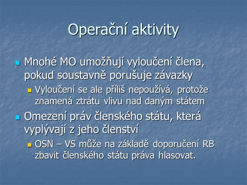Operační aktivity Mnohé MO umožňují vyloučení člena, pokud soustavně porušuje závazky.
