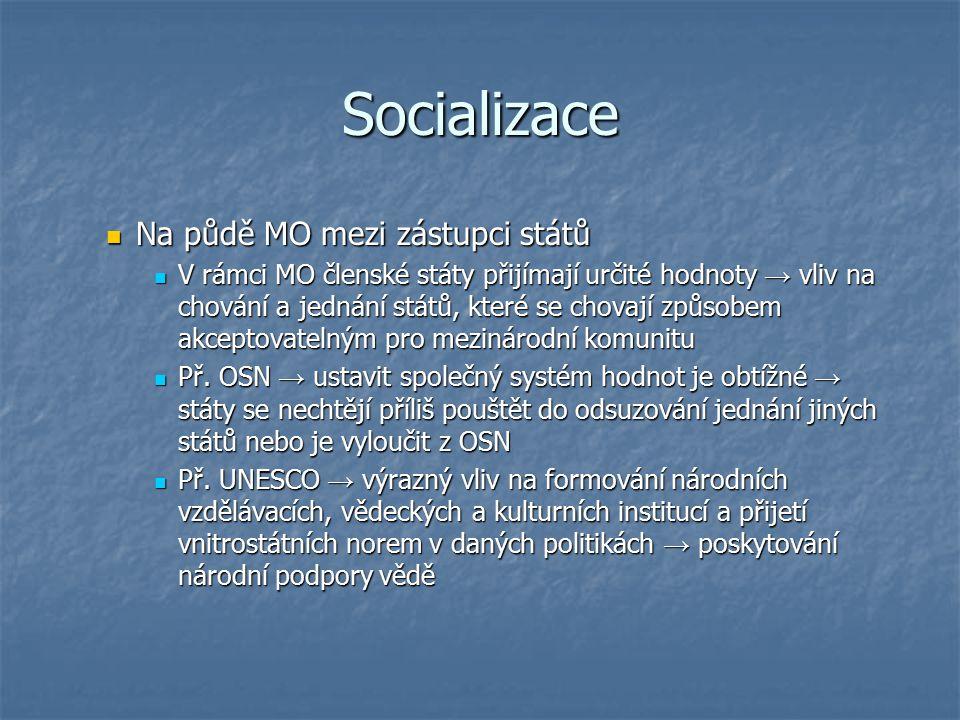 Socializace Na půdě MO mezi zástupci států