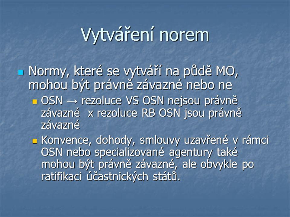 Vytváření norem Normy, které se vytváří na půdě MO, mohou být právně závazné nebo ne.