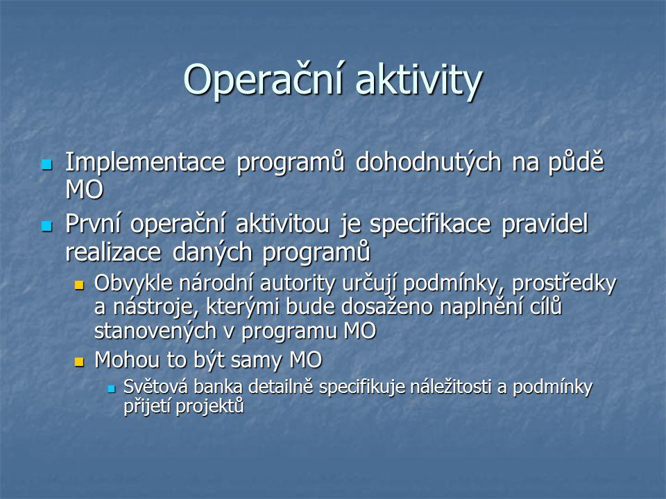 Operační aktivity Implementace programů dohodnutých na půdě MO