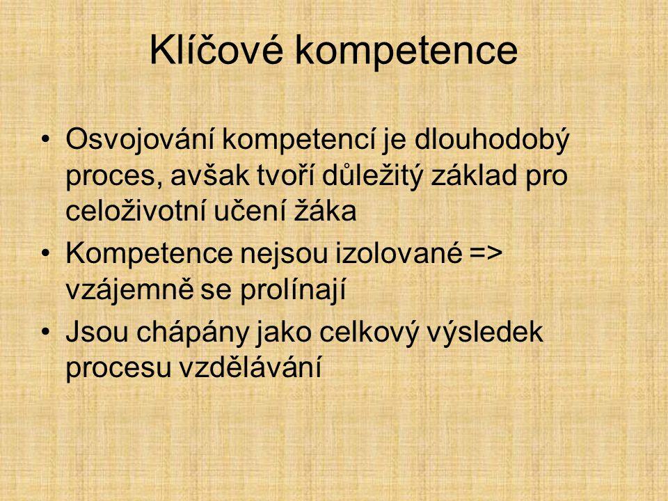 Klíčové kompetence Osvojování kompetencí je dlouhodobý proces, avšak tvoří důležitý základ pro celoživotní učení žáka.