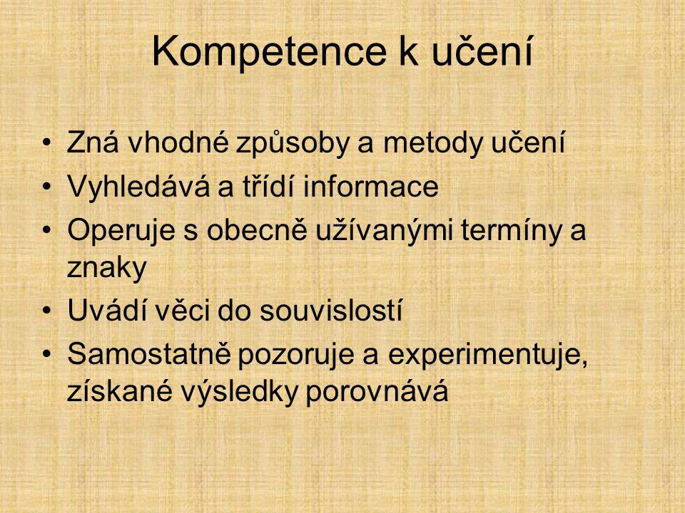 Kompetence k učení Zná vhodné způsoby a metody učení