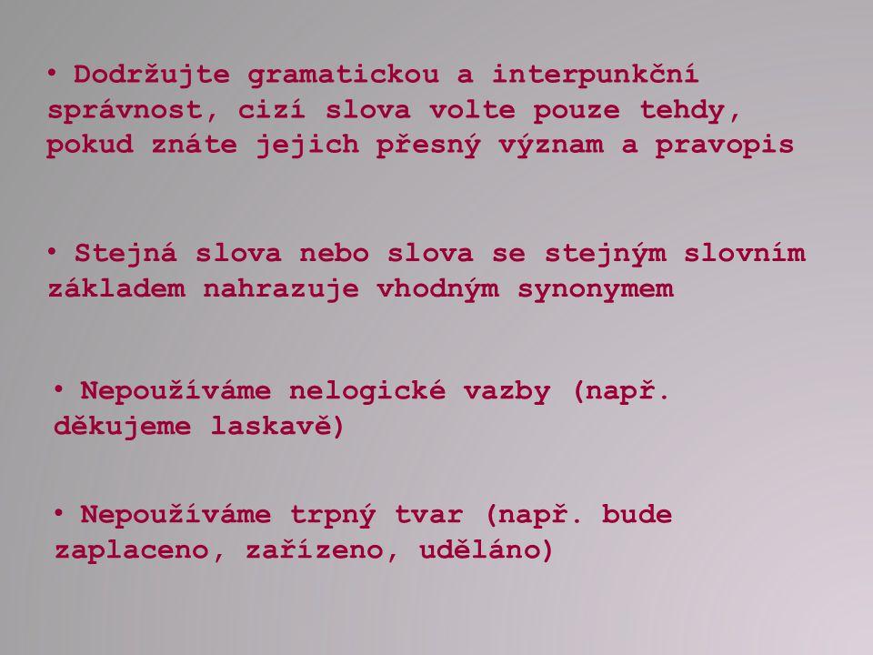 Dodržujte gramatickou a interpunkční správnost, cizí slova volte pouze tehdy, pokud znáte jejich přesný význam a pravopis
