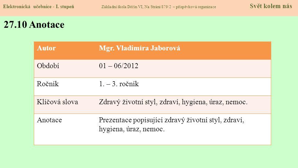 27.10 Anotace Autor Mgr. Vladimíra Jaborová Období 01 – 06/2012 Ročník
