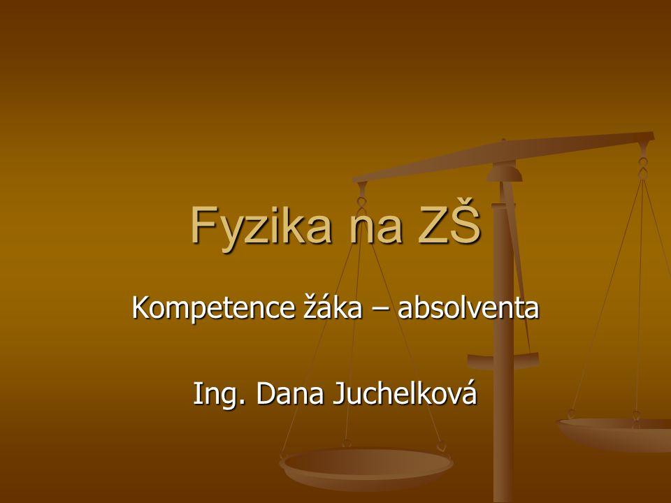 Kompetence žáka – absolventa Ing. Dana Juchelková