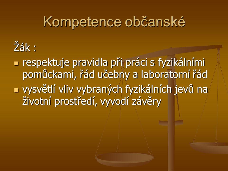 Kompetence občanské Žák :