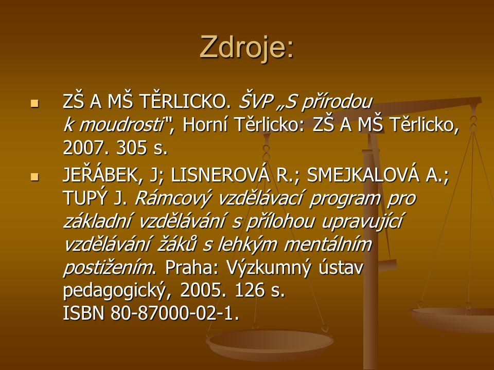 """Zdroje: ZŠ A MŠ TĚRLICKO. ŠVP """"S přírodou k moudrosti , Horní Těrlicko: ZŠ A MŠ Těrlicko, 2007. 305 s."""