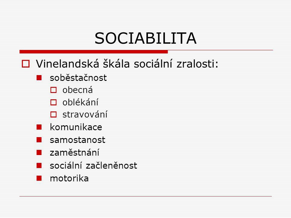 SOCIABILITA Vinelandská škála sociální zralosti: soběstačnost