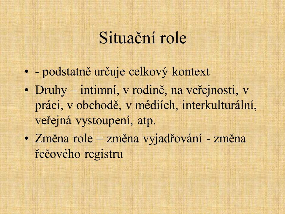 Situační role - podstatně určuje celkový kontext