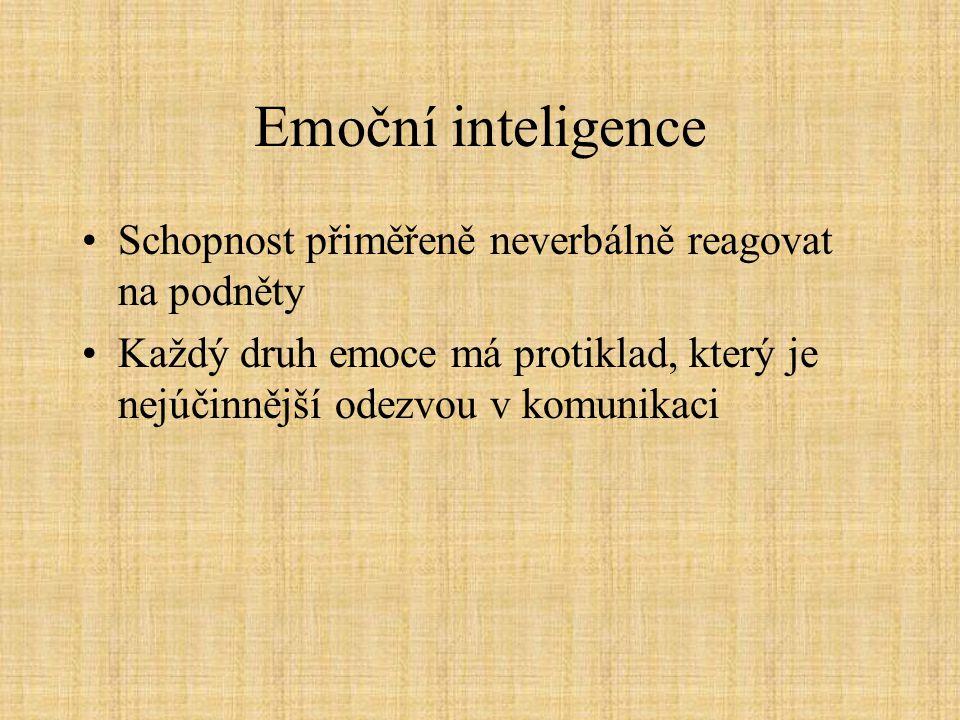 Emoční inteligence Schopnost přiměřeně neverbálně reagovat na podněty