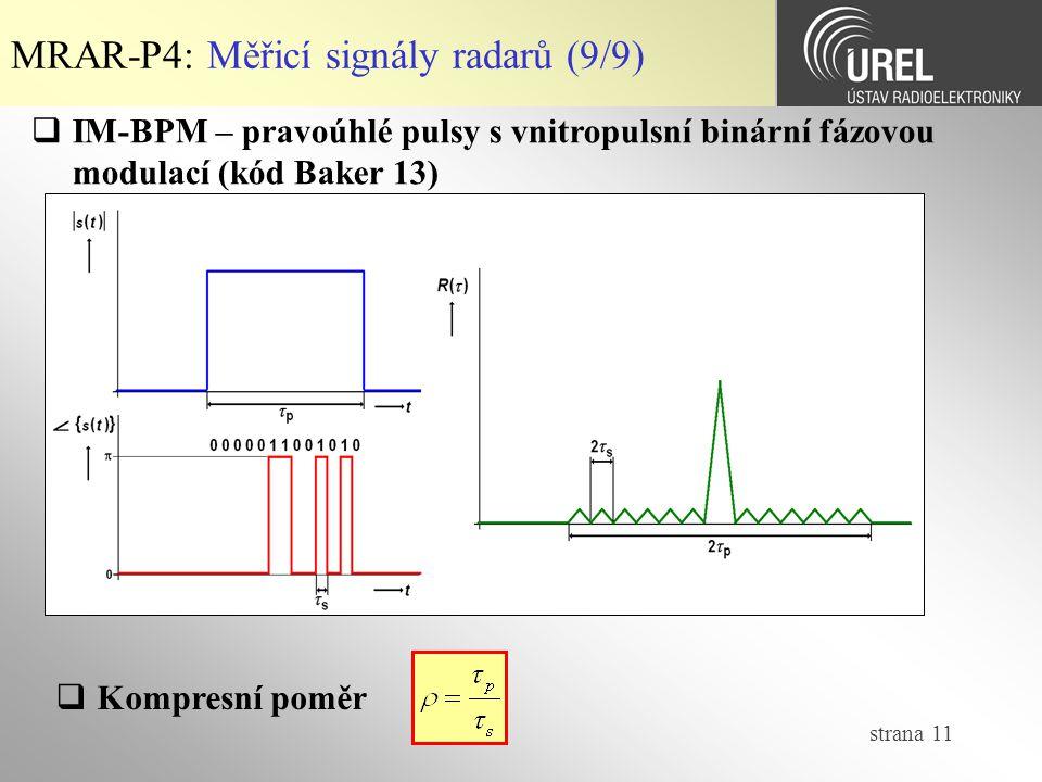 MRAR-P4: Měřicí signály radarů (9/9)