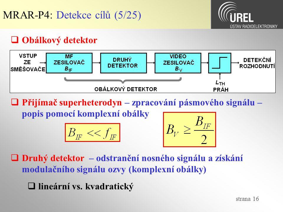 MRAR-P4: Detekce cílů (5/25)