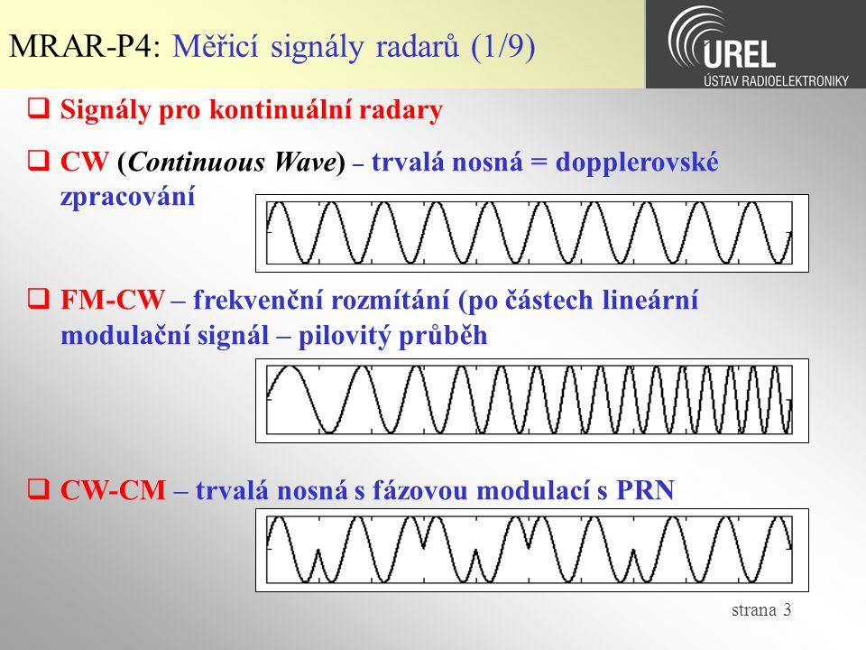 MRAR-P4: Měřicí signály radarů (1/9)