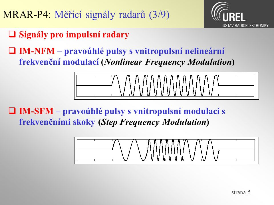 MRAR-P4: Měřicí signály radarů (3/9)