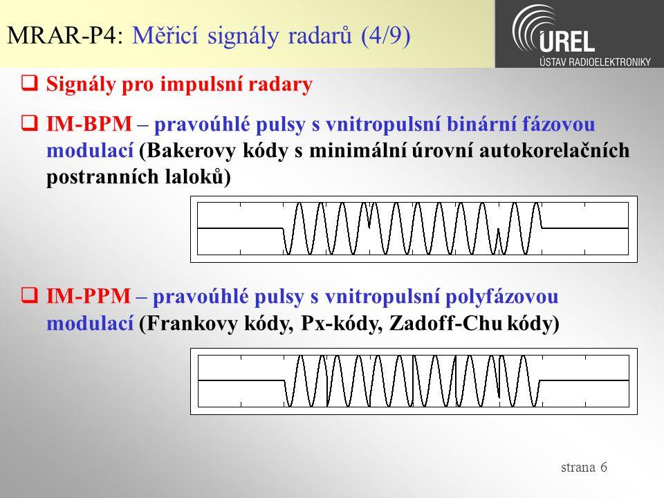 MRAR-P4: Měřicí signály radarů (4/9)