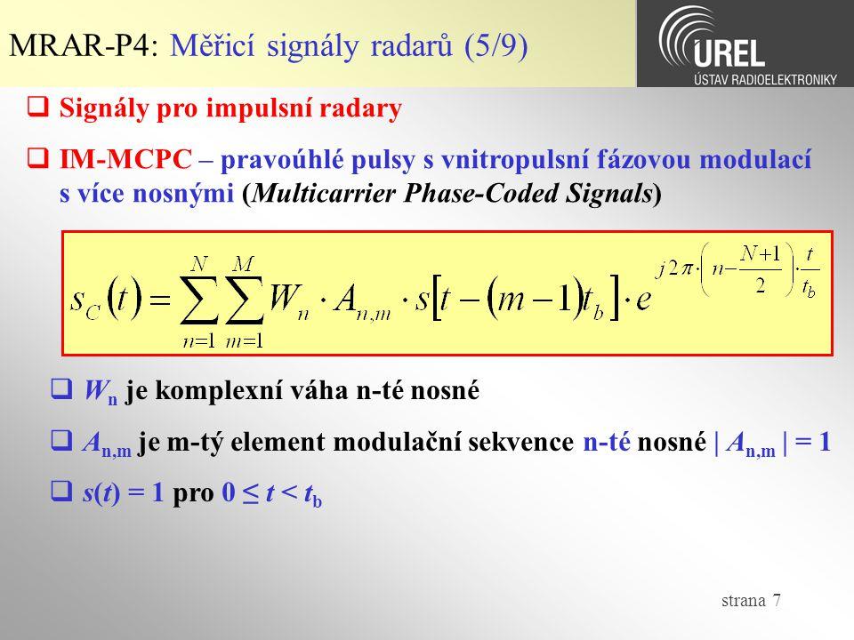 MRAR-P4: Měřicí signály radarů (5/9)