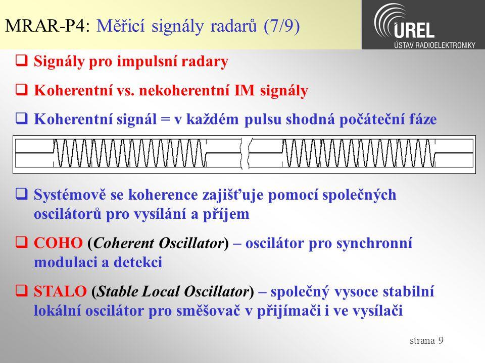 MRAR-P4: Měřicí signály radarů (7/9)