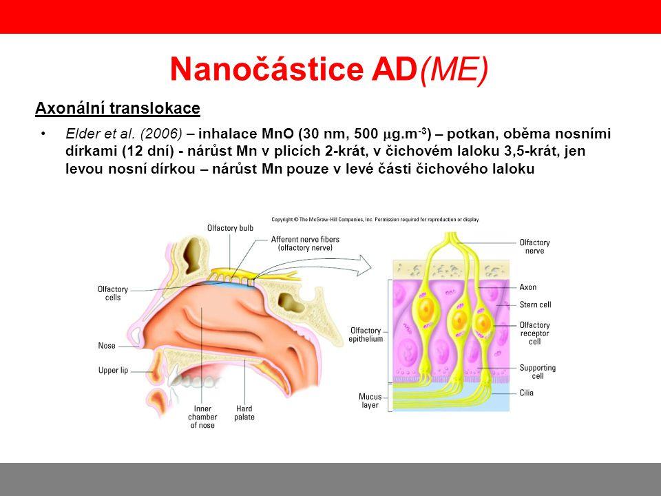 Nanočástice AD(ME) Axonální translokace