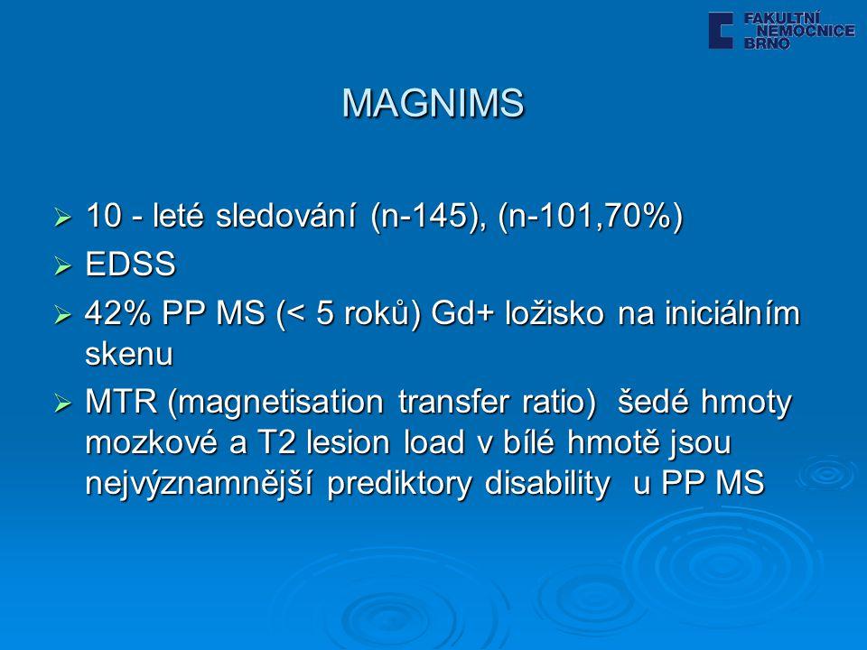 MAGNIMS 10 - leté sledování (n-145), (n-101,70%) EDSS