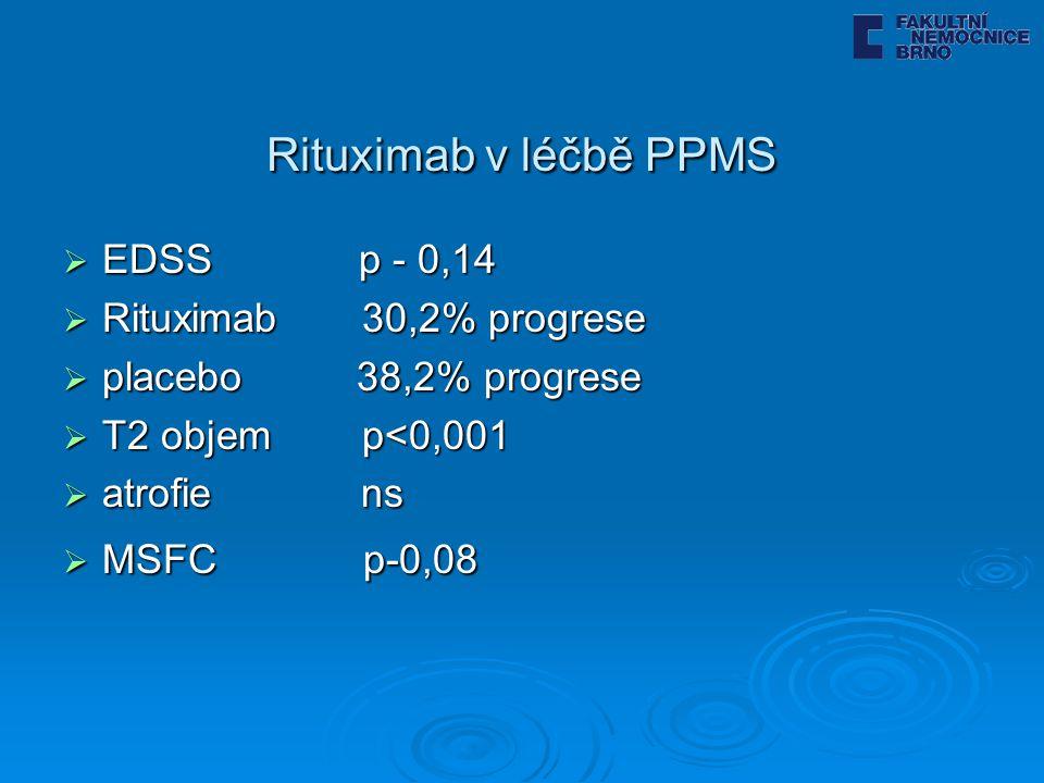 Rituximab v léčbě PPMS EDSS p - 0,14 Rituximab 30,2% progrese