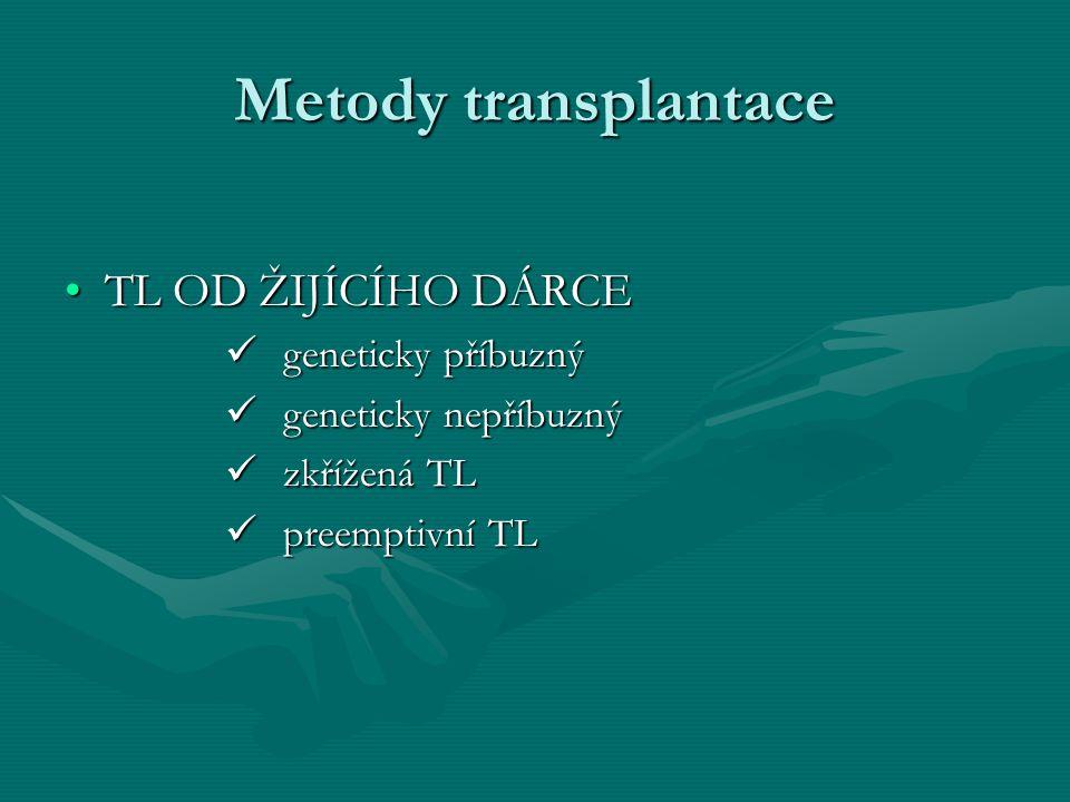 Metody transplantace TL OD ŽIJÍCÍHO DÁRCE geneticky příbuzný