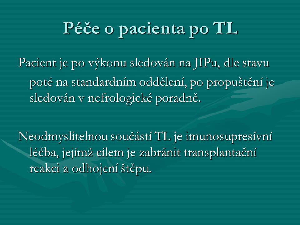 Péče o pacienta po TL Pacient je po výkonu sledován na JIPu, dle stavu