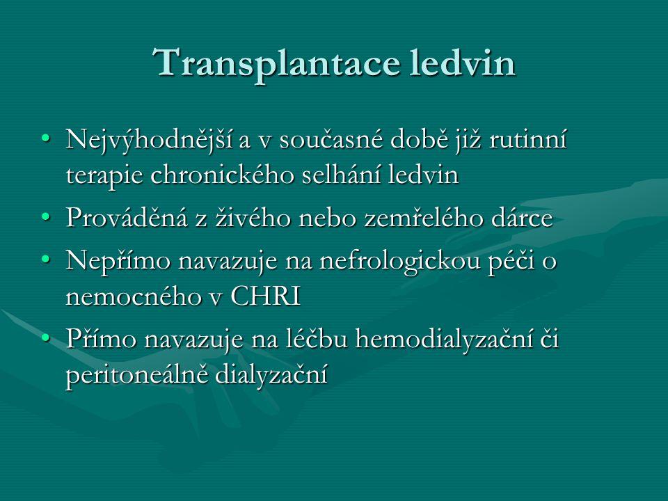 Transplantace ledvin Nejvýhodnější a v současné době již rutinní terapie chronického selhání ledvin.