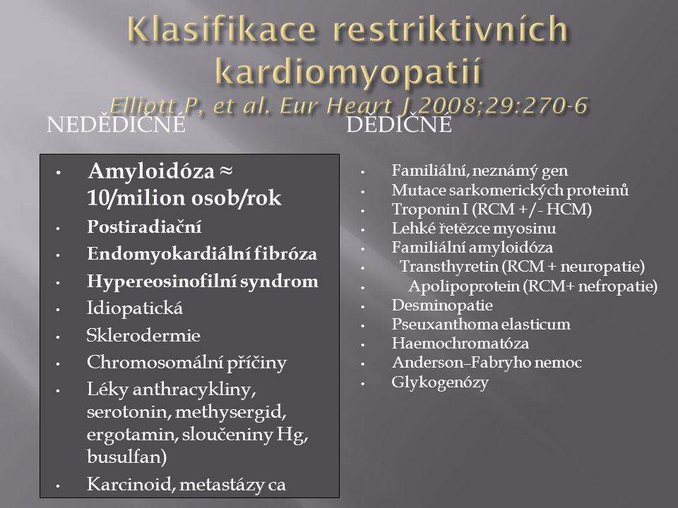 Klasifikace restriktivních kardiomyopatií Elliott P, et al